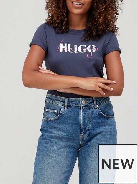 hugo-logo-slim-t-shirt--grey