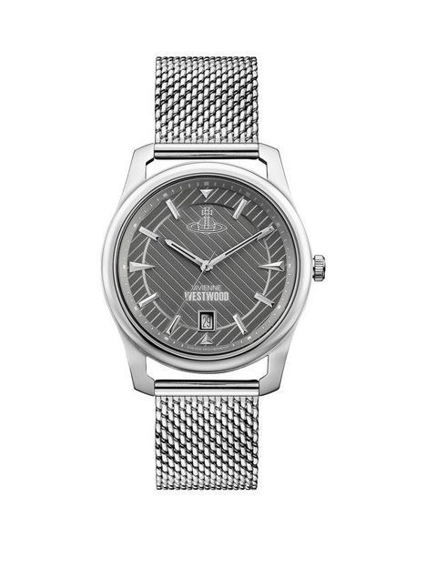 vivienne-westwood-vivienne-westwood-grey-date-dial-stainless-steel-mesh-strap-mens-watch