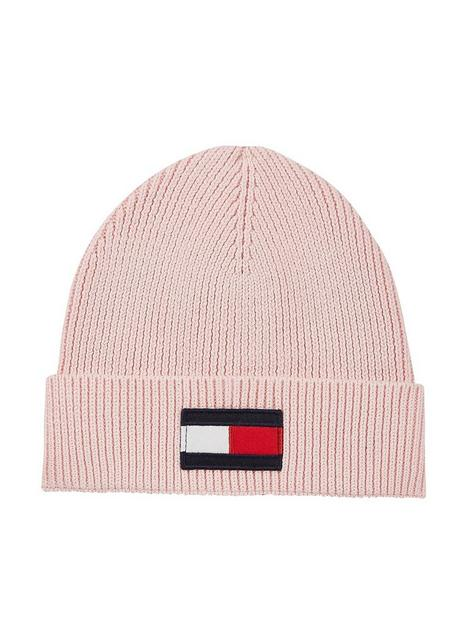 tommy-hilfiger-girls-large-flag-knitted-beanie-pink