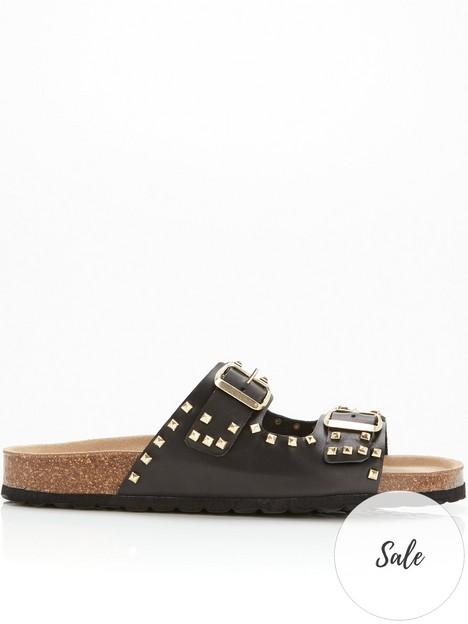 sofie-schnoor-buckle-detail-leather-sandals-black