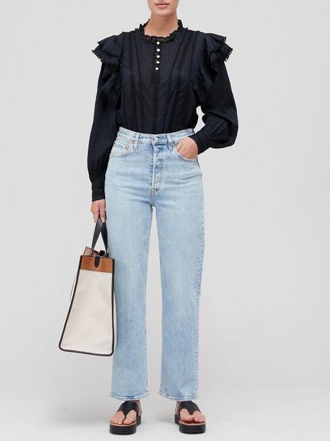 sofie-schnoor-ruffle-detail-blouse-black