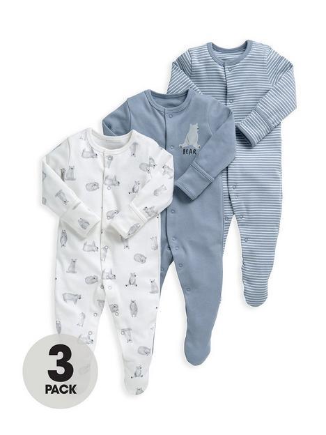 mamas-papas-baby-boys-3-pack-bears-sleepsuits-multi