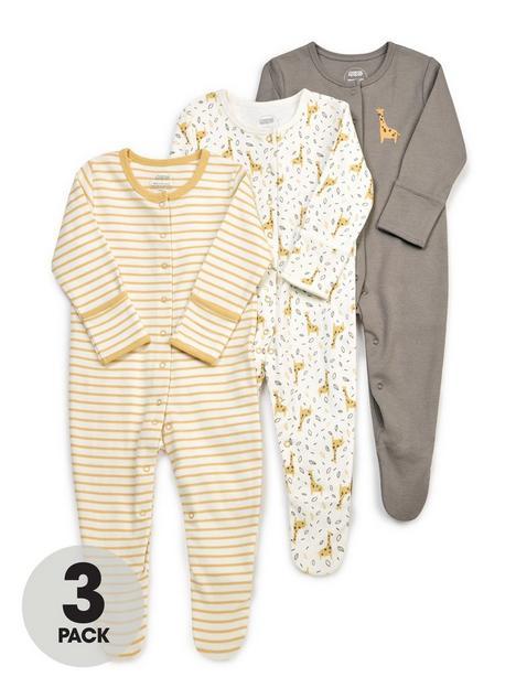 mamas-papas-unisex-baby-3-pack-giraffe-sleepsuits-yellow