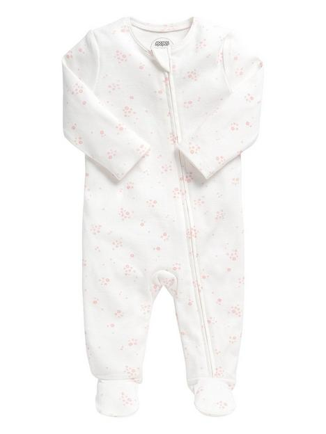 mamas-papas-baby-girls-floral-zip-all-in-one-white