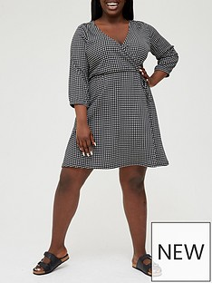 v-by-very-curve-jersey-wrap-34-sleeve-gingham-mini-dress-blackwhitenbsp