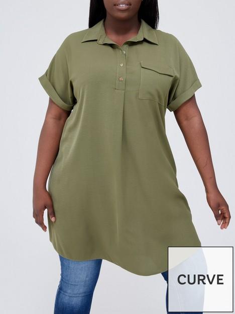 v-by-very-curve-longline-utility-shirt-khaki