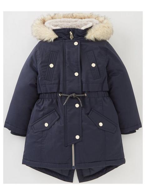 v-by-very-girls-faux-fur-hooded-halfnbspfur-lined-back-tonbspschoolnbspparka-navy