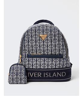 River Island Girls Navy Rir Jacquard Backpack, Navy