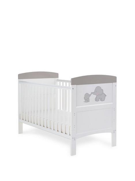 obaby-grace-inspire-cot-bed-me-amp-mini-me-elephants-grey