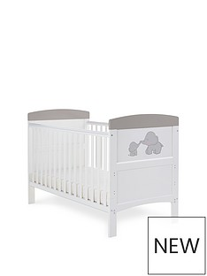 obaby-grace-inspire-cot-bed-me-amp-mini-me-elephants-grey