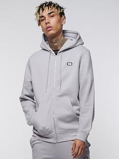 criminal-damage-eco-zip-hoodie-light-grey