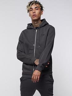 criminal-damage-eco-zip-hoodie-charcoal
