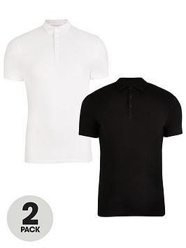 River Island Muscle Fit Polo Shirts 2 Pack - Black/White , Black/White, Size M, Men