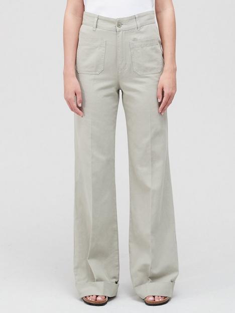 joie-eyler-wide-leg-cargo-trousers-green