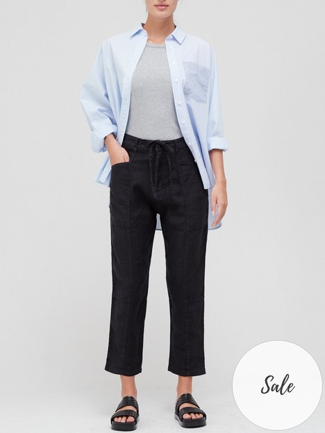 joie-linen-crop-trousers-black