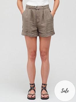joie-dixon-khaki-belted-shorts-green