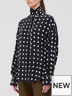 equipment-juditha-polka-dot-high-neck-blouse-black