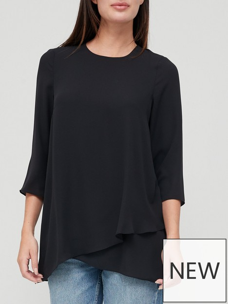 v-by-very-overlay-detail-blouse-black