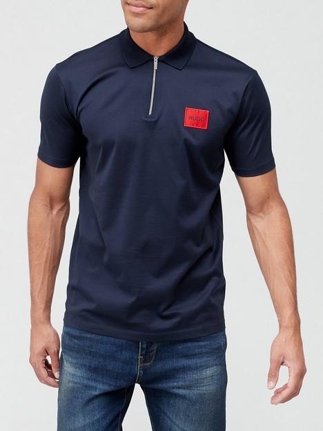 hugo-deresom-red-patch-logo-zip-polo-shirt-dark-bluenbsp