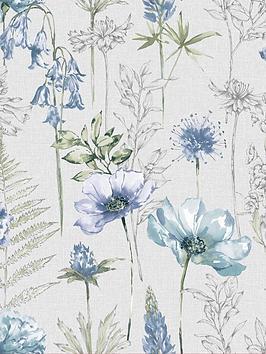 fresco-floral-sketch-blue-wallpaper