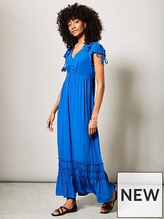 mint-velvet-mint-velvet-blue-ruched-ruffle-sun-dress