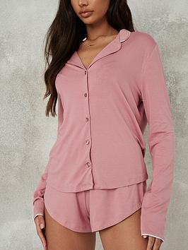 missguided-missguided-soft-touch-piping-shirt-short-pjnbspset-rose