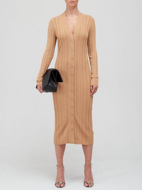 equipment-beagan-button-through-ribbed-knit-dress-camel