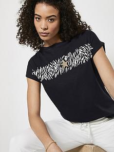 mint-velvet-animal-stripe-star-t-shirt-navy