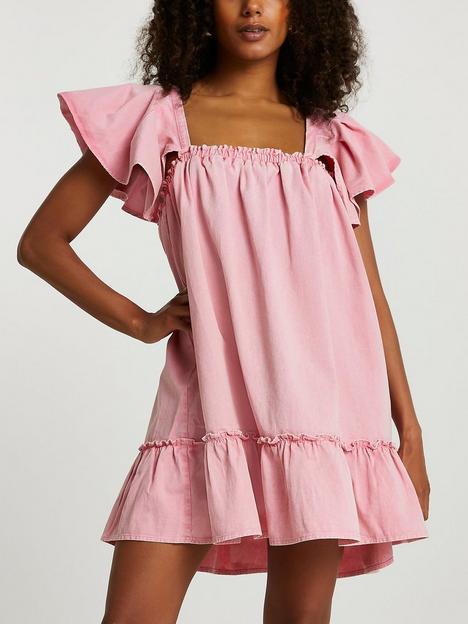 river-island-denim-puff-smock-dress-pink
