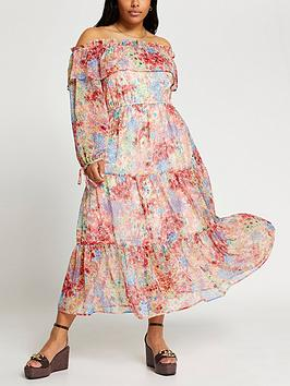 ri-plus-ri-plus-printed-bardot-waisted-maxi-dress-pink