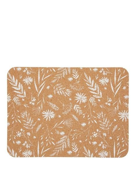 kitchencraft-white-leaf-cork-set-of-4-placemats