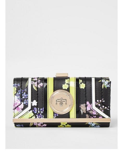 river-island-floral-print-coin-cliptop-purse-black