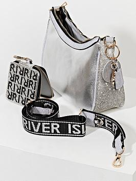 River Island Crossbody Pouch - Silver, Silver, Women