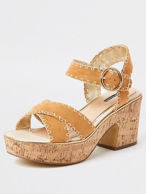 river-island-platform-cork-sandal-brown