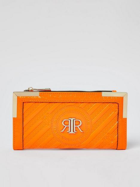 river-island-embossed-metal-corner-purse-orange