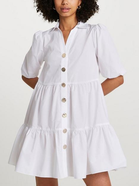 river-island-short-sleeve-tier-shirt-mini-dress-white