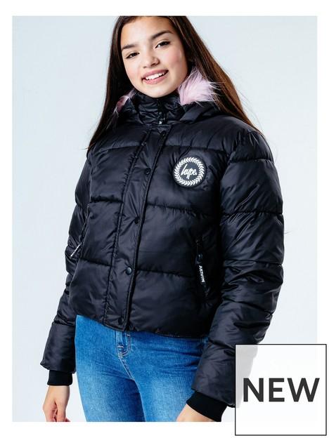 hype-girls-pink-trim-cropped-padded-jacket-black