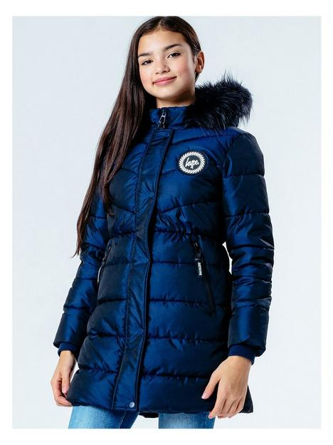 hype-girls-fitted-padded-coat-navy