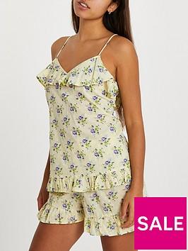 river-island-dobby-print-pyjama-cami-short-set-yellow