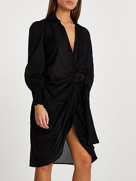 river-island-shirt-midi-dress-black