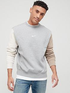 nike-nswnbspfleecenbspcrew-swoosh-colour-block-sweat-top-grey