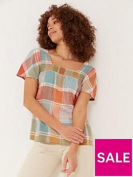 fatface-catherine-square-neck-check-blouse-multi