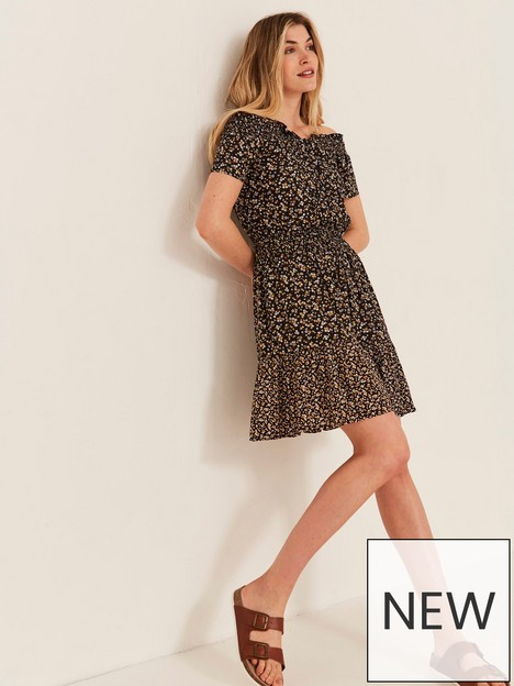 fatface-mika-ditsy-print-bardot-dress-black