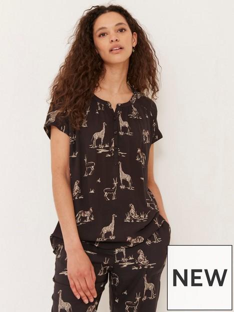 fatface-lizzie-safari-print-tie-waist-blouse-black