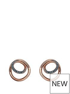 the-love-silver-collection-rose-gold-plated-silver-spiral-earrings-with-blue-nano-crystals