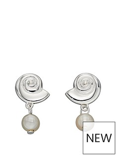 the-love-silver-collection-sterling-silver-shell-stud-with-pearl-drop-earrings