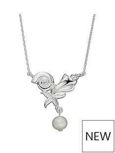 the-love-silver-collection-sterling-silver-shell-starfish-and-keshi-pearl-necklace-length-41-46cm