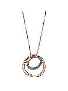 the-love-silver-collection-rose-gold-plated-silver-spiral-necklace-with-blue-nano-crystals-length-41-46cm
