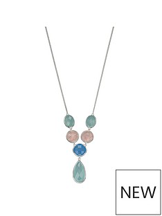 the-love-silver-collection-sterling-silver-semi-precious-y-necklace-set-with-chequerboard-cut-rose-quartz-and-blue-and-aqua-chalcedony-length-41-46cm