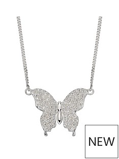 the-love-silver-collection-sterling-silver-madagascan-inspired-butterfly-cubic-zirconia-necklace-length-41-46cm